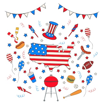 Handgezeichnetes independence day icon set im doodle-stil