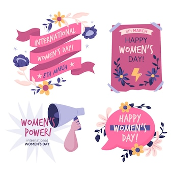 Handgezeichnetes internationales frauentagsabzeichenpaket