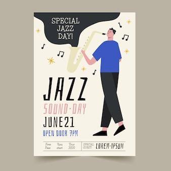 Handgezeichnetes internationales jazz-tagesplakat