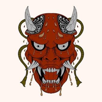 Handgezeichnetes japanisches hannya-dämonen-rot-theater verriet frauenmaske mit augen und weit geöffnetem mund