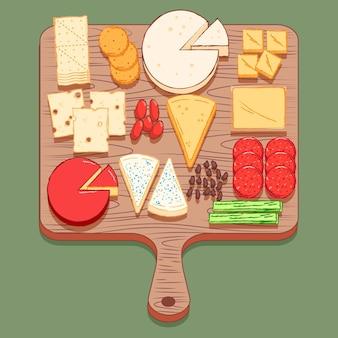 Handgezeichnetes käsebrett