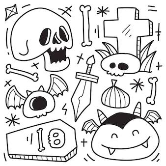 Handgezeichnetes kawaii doodle halloween cartoon farbdesign