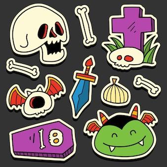 Handgezeichnetes kawaii doodle halloween cartoon sticker design