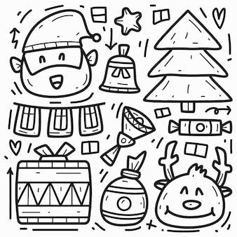 Handgezeichnetes kawaii weihnachtskarikatur-gekritzelentwurf Premium Vektoren
