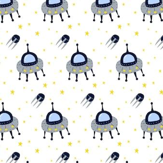 Handgezeichnetes kindermuster mit fliegender untertasse ufo-muster
