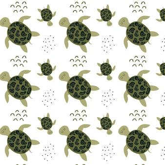 Handgezeichnetes kindermuster mit schildkröten muster mit süßen grünen schildkröten