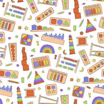 Handgezeichnetes kinderspielzeug. bildungslogik spielzeug nahtloses muster im gekritzelstil