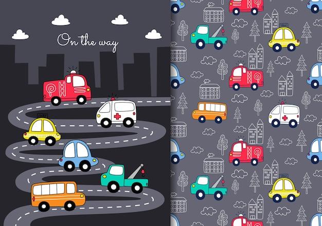 Handgezeichnetes kindisches nahtloses muster mit autos auf dem weg