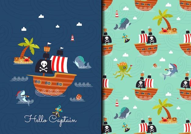 Handgezeichnetes kindisches nahtloses muster mit piratenschiff und tierschiffsbesatzung im meer