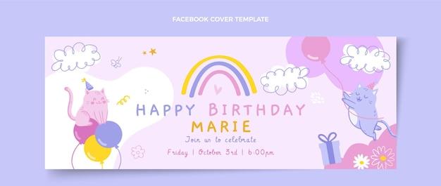 Handgezeichnetes kindliches facebook-cover zum geburtstag