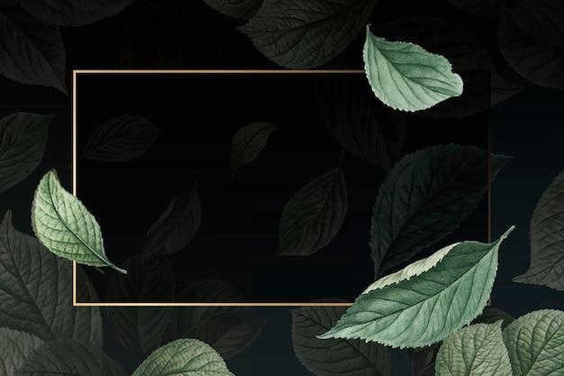 Handgezeichnetes kirschblatt mit rechteckigem goldrahmen