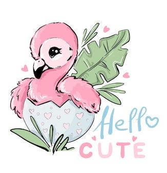 Handgezeichnetes kleines süßes rosa baby flamingo sitzt im ei