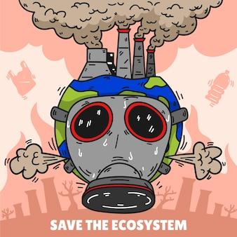 Handgezeichnetes klimawandelkonzept mit maske