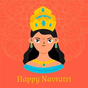 Handgezeichnetes konzept des navratri-festivals