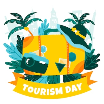 Handgezeichnetes konzept des tourismus-tages