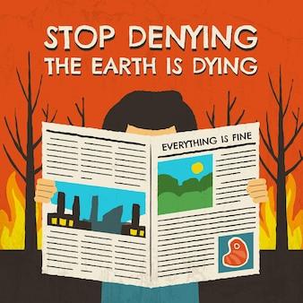 Handgezeichnetes konzept zum stopp des klimawandels