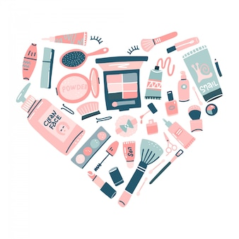 Handgezeichnetes kosmetikset. professionelle make-up-artikel in herzform. dekorative illustration im trendigen flachen stil für webdesign oder druck.