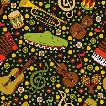 Handgezeichnetes lateinamerikanisches, mexikanisches nahtloses muster der karikatur mit musikinstrumenten