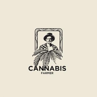 Handgezeichnetes logo des cannabisbauern