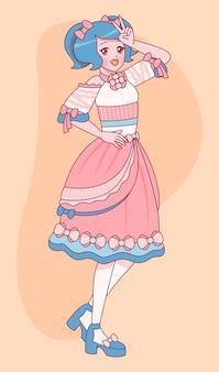 Handgezeichnetes mädchen im lolita-stil