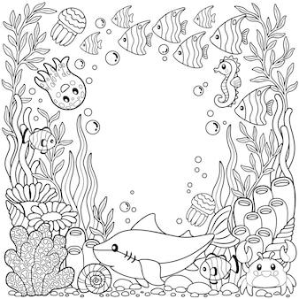 Handgezeichnetes malbuch für erwachsene. sommerferien, party und erholung. malbuch für erwachsene zum meditieren und entspannen. sommer meer. tropische fische, nemofische, quallen, korallen und muscheln.