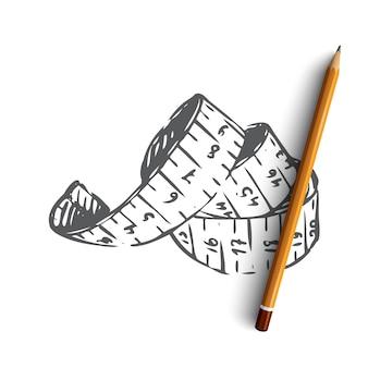 Handgezeichnetes maßband