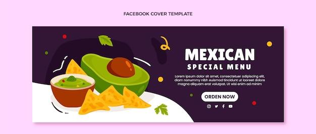 Handgezeichnetes mexikanisches essen facebook-cover