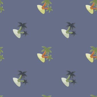 Handgezeichnetes minimalistisches nahtloses muster mit palmen- und inselsilhouetten. marineblauer pastellhintergrund. entworfen für stoffdesign, textildruck, verpackung, abdeckung. vektor-illustration.