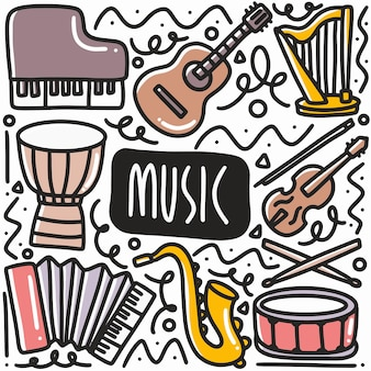 Handgezeichnetes musikinstrument-ausrüstungskritzelset mit ikonen und gestaltungselementen