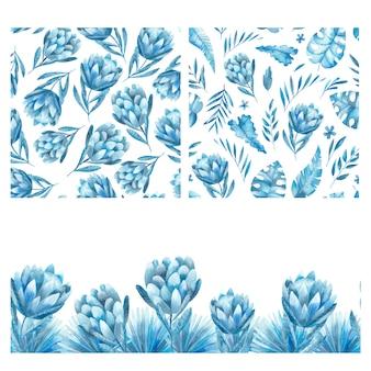Handgezeichnetes nahtloses aquarellmuster mit tropischen blumen in den blautönen. tropischer hintergrund mit blüten von protea
