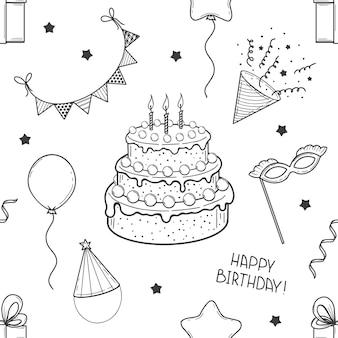 Handgezeichnetes nahtloses muster aus festlichen elementen. alles gute zum geburtstag. kuchen, fahnen, maske, ballon, geschenkbox. skizzieren. vektor-illustration.