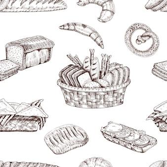 Handgezeichnetes nahtloses muster der bäckerei
