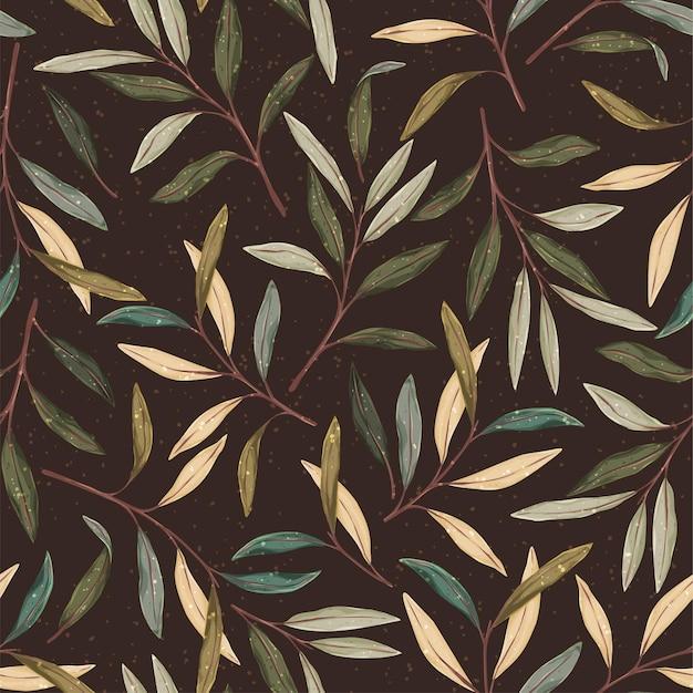 Handgezeichnetes nahtloses muster der herbstwaldhand. botanischer retro-hintergrund.