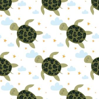 Handgezeichnetes nahtloses muster der kinder mit einer schildkröte