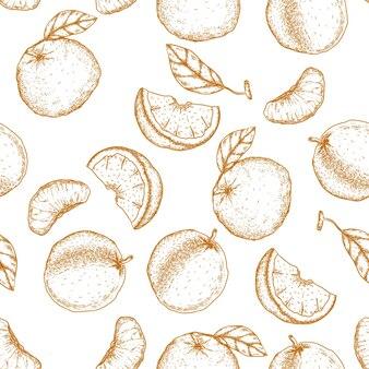 Handgezeichnetes nahtloses muster der mandarine und der orange