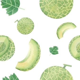 Handgezeichnetes nahtloses muster der melone