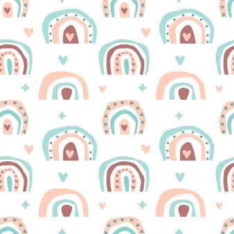 Handgezeichnetes nahtloses muster der niedlichen boho-regenbogenpastellfarbe lokalisiert auf weißem hintergrund. flache vektorgrafik. design für babytextilien, tapeten, verpackungen, kulissen