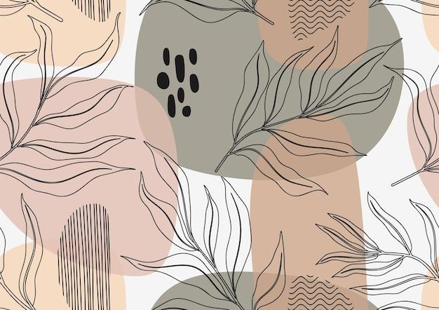 Handgezeichnetes nahtloses muster der tropischen blätter.