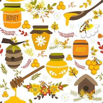 Handgezeichnetes nahtloses muster des honigs
