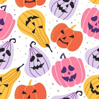 Handgezeichnetes nahtloses muster für halloween-feier mit kürbis