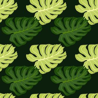 Handgezeichnetes nahtloses muster in grüntönen mit doodle-monstera-formendruck. natur-kunstwerk.