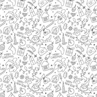 Handgezeichnetes nahtloses muster mit frohe weihnachten-glockenkugel-süßigkeitsengel-schneemann im doodle-stil