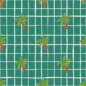 Handgezeichnetes nahtloses muster mit grünen palmenelementformen. türkisfarbener hintergrund mit scheck. entworfen für stoffdesign, textildruck, verpackung, abdeckung. vektor-illustration.