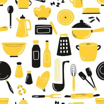 Handgezeichnetes nahtloses muster mit kochutensilien, ausrüstung. flache illustration für tapeten, küchentextilien, tücher.