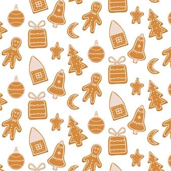 Handgezeichnetes nahtloses muster mit lebkuchen weihnachtsmuster mit keksen