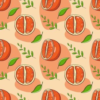 Handgezeichnetes nahtloses muster mit mandarinen.