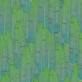 Handgezeichnetes nahtloses muster mit palmblättern