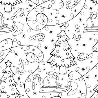 Handgezeichnetes nahtloses muster mit weihnachtsbaum-zuckerstangen-girlande und schlitten im doodle-stil