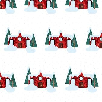 Handgezeichnetes nahtloses muster mit weihnachtshaus-neujahrsmuster