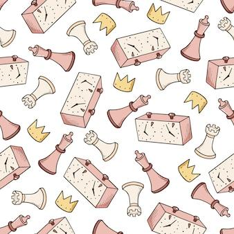 Handgezeichnetes nahtloses muster von cartoon-schachfiguren. doodle-skizze-stil.